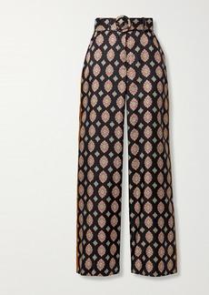 NICHOLAS Riad Printed Silk Straight-leg Pants