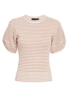 NICHOLAS Rib Stripe Puff Sleeve Knit Top