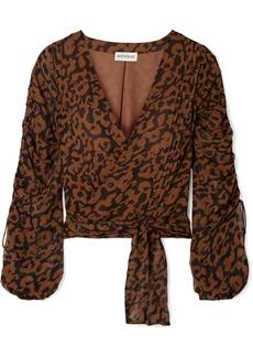 NICHOLAS Ruched Leopard-print Silk-chiffon Wrap Top