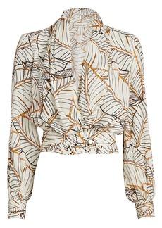 NICHOLAS Shaila Palm Print Silk Blouse