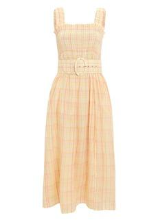 NICHOLAS Smocked Cotton Apron Dress