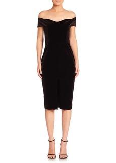 NICHOLAS Velvet Lace Off-the-Shoulder Sheath Dress