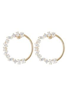 Nickho Rey Simon Half Crystal Hoop Earrings