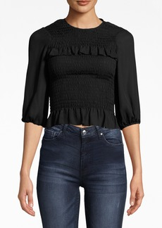 Nicole Miller 3/4 Sleeve Smocked Silk Top