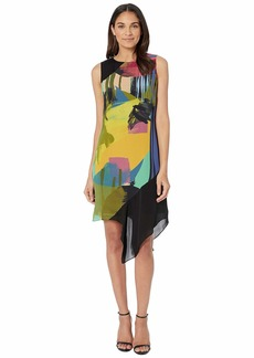 Nicole Miller Abstract Paint Asymmetrical Dress