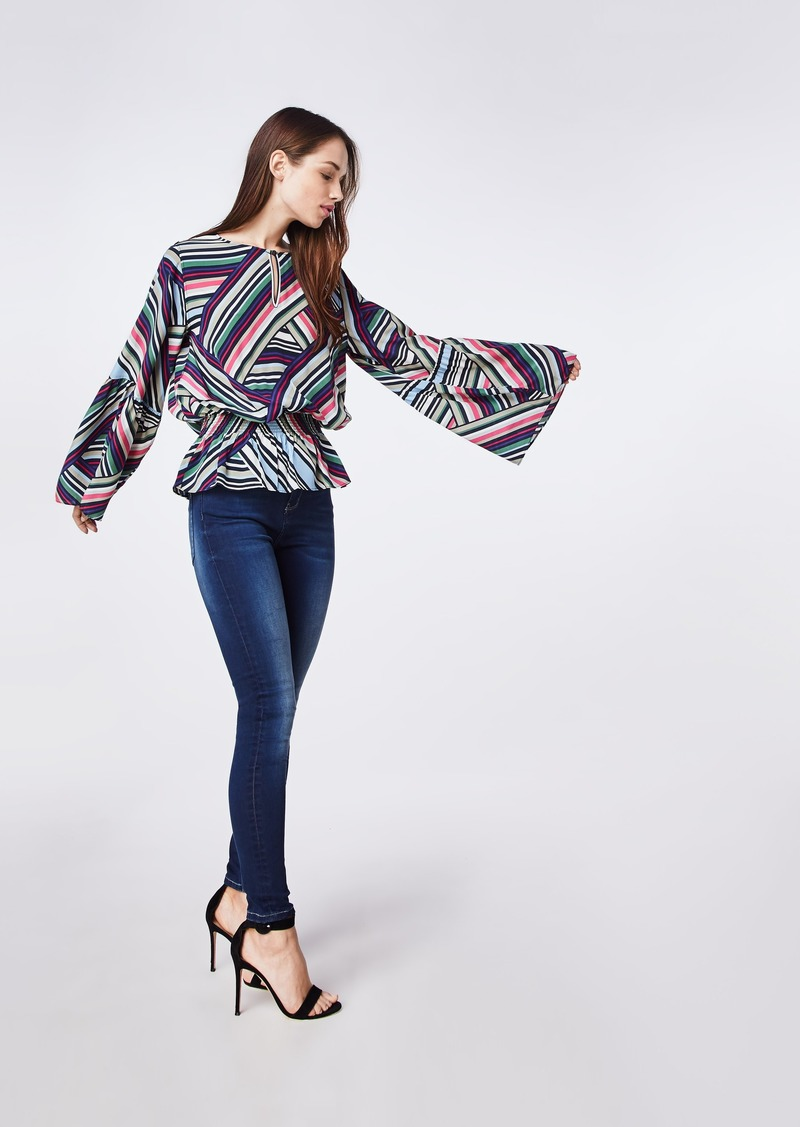 Nicole Miller Abstract Stripe Bell Sleeve Top