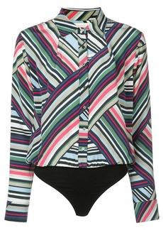 Nicole Miller abstract stripe bodysuit