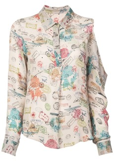 Nicole Miller airmail stamps boyfriend blouse