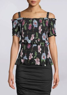 Nicole Miller Ann Marie Smocked Off The Shoulder Top