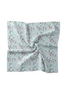 Nicole Miller Aqua Floral Silk Blend Scarf