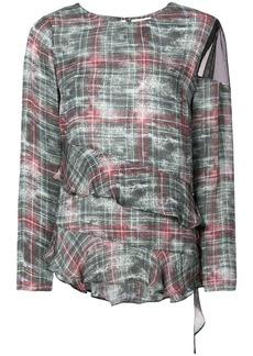 Nicole Miller asymmetric ruffle blouse