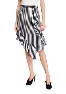 Nicole Miller Asymmetric Striped Drape Skirt