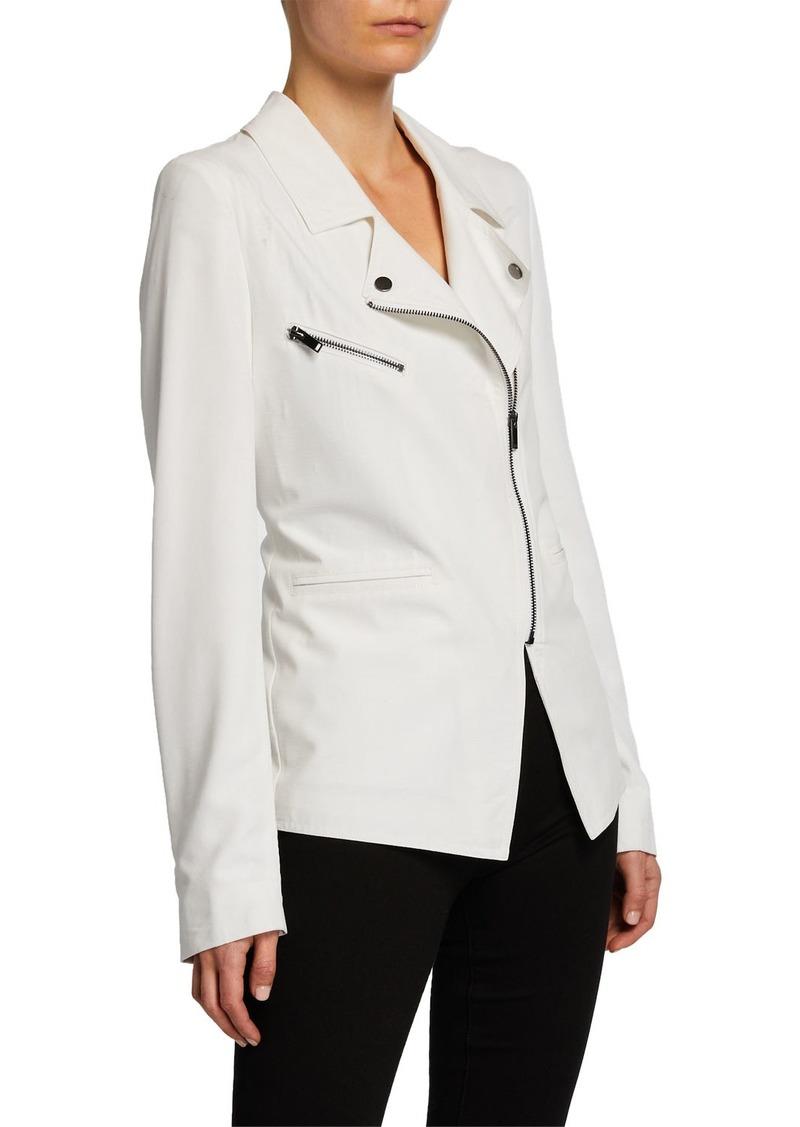 Nicole Miller Asymmetric-Zip Moto Jacket