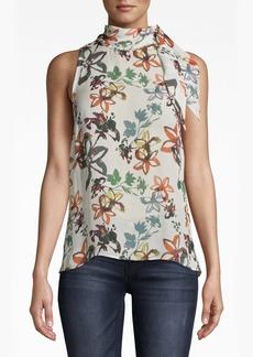 Nicole Miller Autumn Dream Silk Stock Tie Blouse