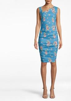 Nicole Miller Bahama Blue Asymmertical Tuck Dress