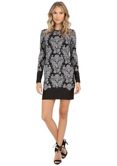 Nicole Miller Baroque Embroidered Neoprene Dress