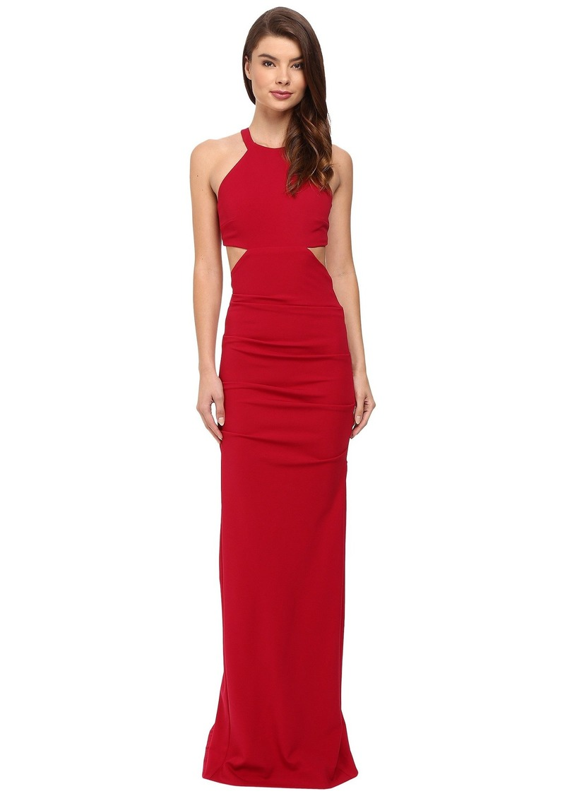 0cfe9235d1e Nicole Miller Belize Cut Out Structured Jersey Gown