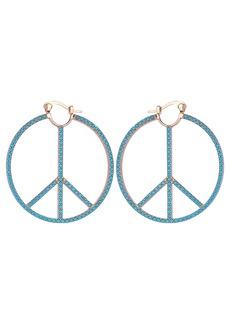 Nicole Miller Blue Stone Peace Sign Large Hoop