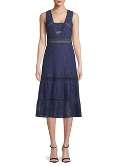 Nicole Miller Box Neck Lace Midi Dress