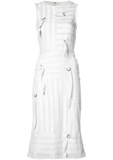 Nicole Miller buckle detail striped dress