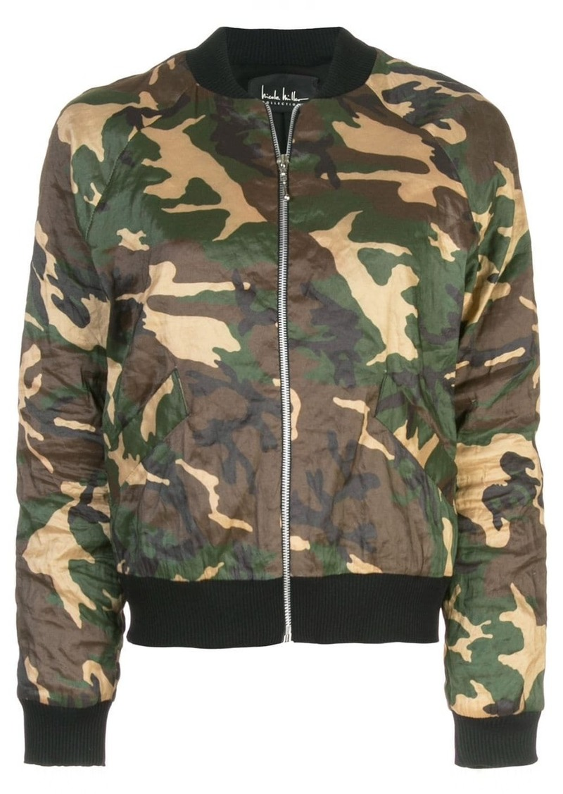 Nicole Miller camouflage print bomber jacket