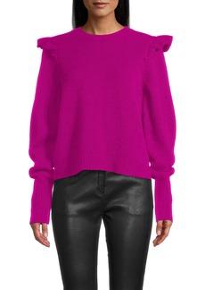 Nicole Miller Cashmere Puff Sleeve Jewel Neck Sweater