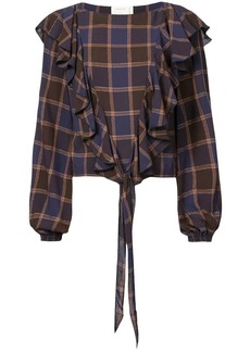 Nicole Miller checked print blouse