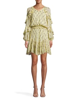 Nicole Miller Clipped Rose Long Sleeve Ruffle Dress