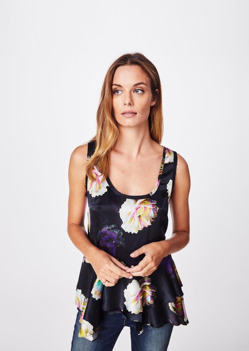 Nicole Miller Confetti Flowers Asymmetrical Tank