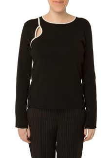 Nicole Miller Contrast Piping Cutout Sweater