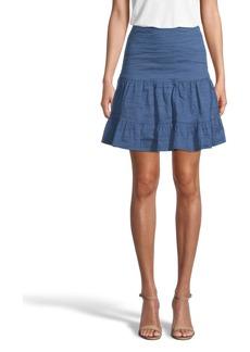 Nicole Miller Cotton Metal Flounce Mini Skirt