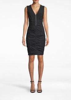 Nicole Miller Cotton Metal Sleeveless Zipper Dress