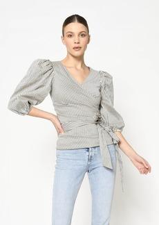 Nicole Miller Cotton Metal Striped Wrap Top