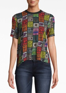 Nicole Miller Cracked Plaid/rave Fliers Combo Hi-low T-shirt