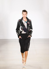 Nicole Miller Crane And Cherry Blossom Leather Moto Jacket