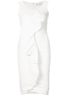 Nicole Miller creased ruffle front dress