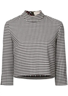Nicole Miller cropped vichy blouse