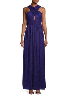 Nicole Miller Cross-Front Pleated Gown