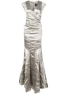 Nicole Miller crumpled effect gown