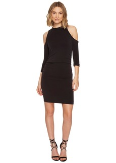 Nicole Miller Cupro Modal Mock Neck Cold Shoulder Dress