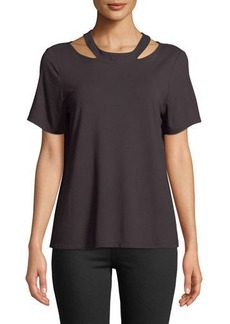 Nicole Miller Cutout-Collar Short-Sleeve Tee
