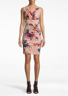 Nicole Miller Dahlia Bloom Jersey V-neck Dress