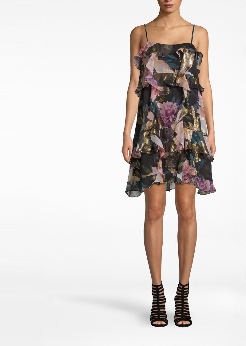 Nicole Miller Dahlia Bloom Mini Ruffle Dress