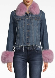 Nicole Miller Denim Jacket With Fur