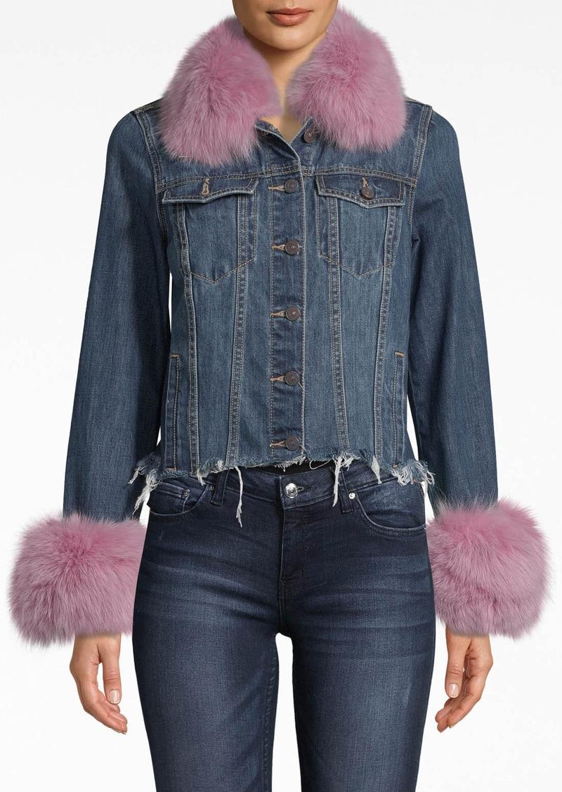 Nicole Miller Denim Jacket With Fur