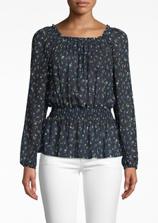 Nicole Miller Ditsy Floral Long Sleeve Smocked Blouse