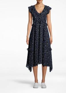 Nicole Miller Ditsy Floral V-neck Ruffle Dress