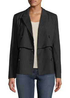 Nicole Miller Double-Breasted Pinstriped Blazer