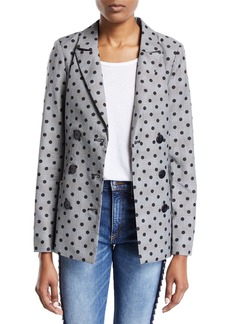 Nicole Miller Double-Breasted Plaid & Polka-Dot Belted Jacket