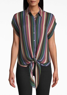 Nicole Miller Downtown Stripe Button Up Tie Top